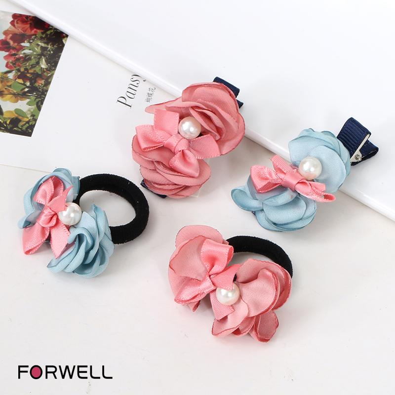 4Pcs/lot Children hairpin hair accessories baby girls head flower hair ring flower princess hair bands child hair clip Headwear(China (Mainland))