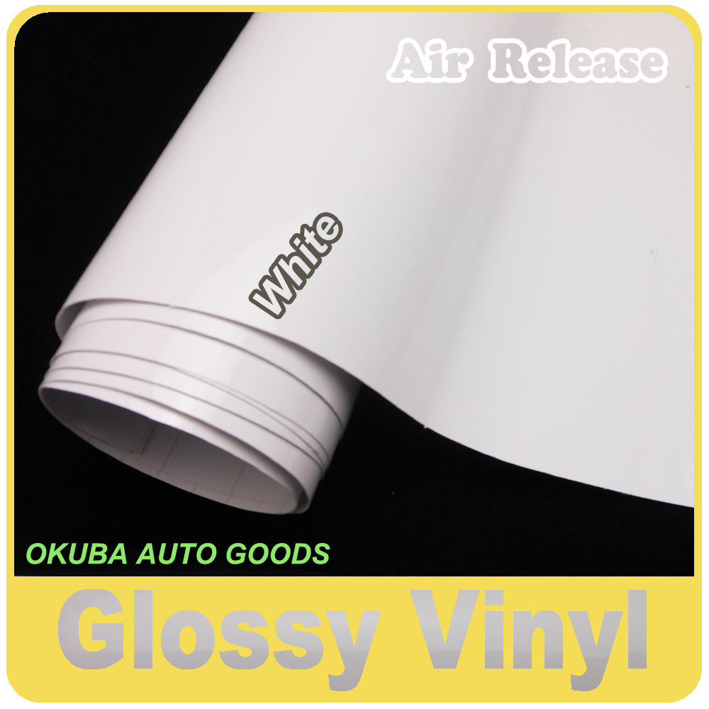 Gloss White Vinyl Glossy Film Car Wrapping Glossy Wrap Sticker Full Body Car Sticker 1.52*30m/roll(China (Mainland))
