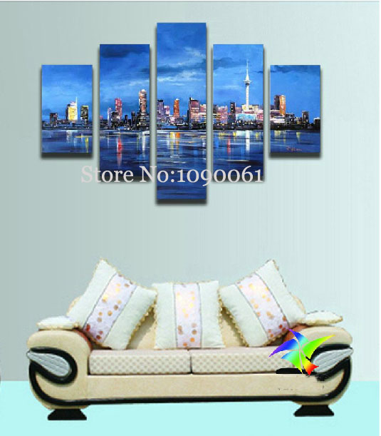 Hand painted modern canvas landscape abstract city paintings oil sets for drawing pictures 5 - Paint for exterior walls set ...