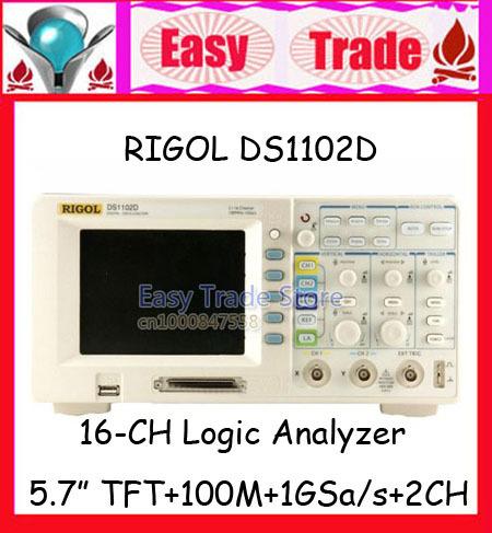 "RIGOL DS1102D 5.7"" Color LCD 100MHz 1GSa/s 2 Channels Digital Oscillscope + 16 Channels Logic Analyzer(China (Mainland))"