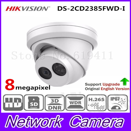 New Released HiK H.265 8MP Network Turret Camera DS-2CD2385FWD-I Original English Version HD IP Camera built-in SD card slot