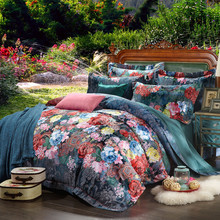 100% cotton bule jacquard floral luxury bedding sets queen king size duvet cover bed sheet set,bed set bed linen(China (Mainland))