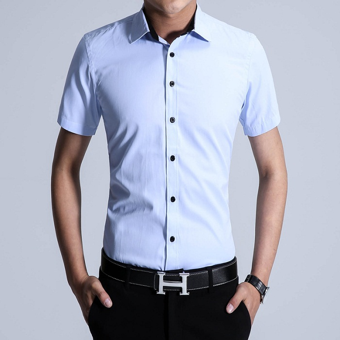 2015 dress shirts summer style fashion fresh solid color for Solid color short sleeve dress shirts