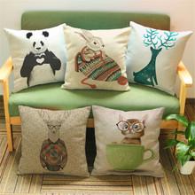Cute Panda Rabbit Deer Cat Pop Style Vintage Linen Painting Pillow Case Cushion Cover