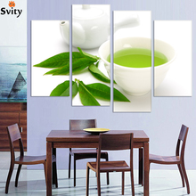 Buy Wall Art 4 Piece Canvas Kitchen Modern Wall Green Tea Painting Home Art Picture Paint Canvas Prints Decor Cuadros De Lienzo for $19.95 in AliExpress store