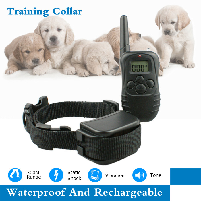 Free Shipping Newest 300 Meters Remote Rechargeable Controller Waterproof Vibrating Electronic Training Collar With LCD screen(China (Mainland))