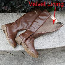 Meotina Winter Frauen Reiten Stiefel Chunky Low Ferse Motorrad Stiefel Schuhe Zip Schnalle Herbst Frauen Hohe Stiefel Gelb Große Größe 9 10(China)