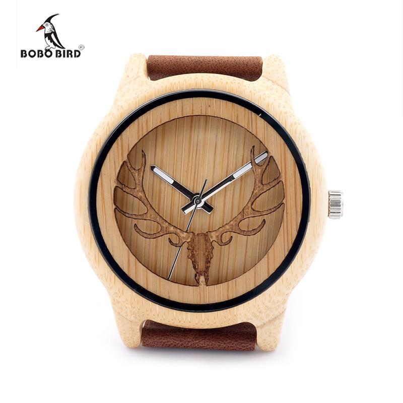 БОБО ПТИЦА Hollow Бак Глава Бамбук Деревянные Часы С Кожаный Ремешок Мужчины Женщины Роскошные Бамбука Специально Смотреть Часы A27