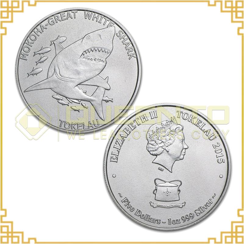 5pcs/lot 2015 Tokelau 1 Troy Oz .999 Silver Plated Mokoha Great White Shark $5 Bullion Round Coin(China (Mainland))