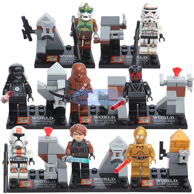 8 pcs/set SY198 Super Star Wars Building Block PVC Action Mini - figurines jouets éducatifs pour enfants(China (Mainland))