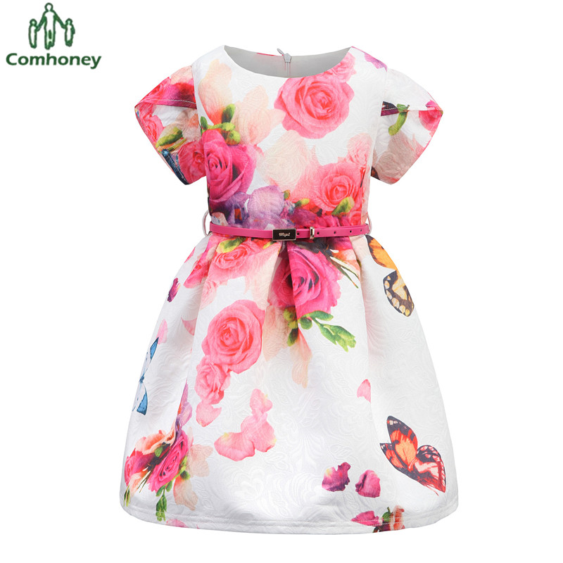 Baby Dress Girls Sun Dress 12T Floral Princess Short Sleeve Kids Dresses For Girls Tunic Party Baby Ball Gown With Belt Comhoney(China (Mainland))