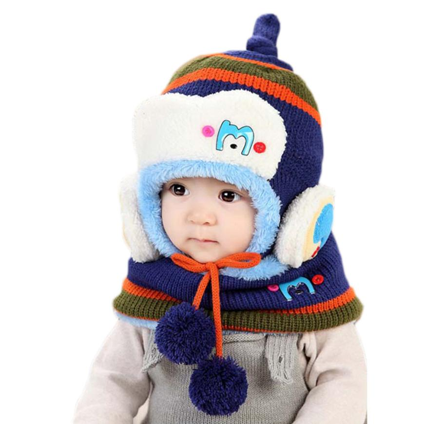 photography props Cute Winter Baby Kids Girls Boys Warm Woolen Coif Hood Scarf Caps Hats woolen caps for kids bonnet enfant