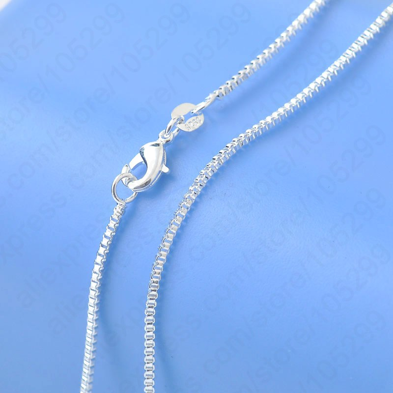 """Гаджет  Free Shipping Top Quality Genuine 925 Sterling Silver Box Venice Necklace Chains With Lobster Clasps 16""""-30"""" For Choice  None Ювелирные изделия и часы"""