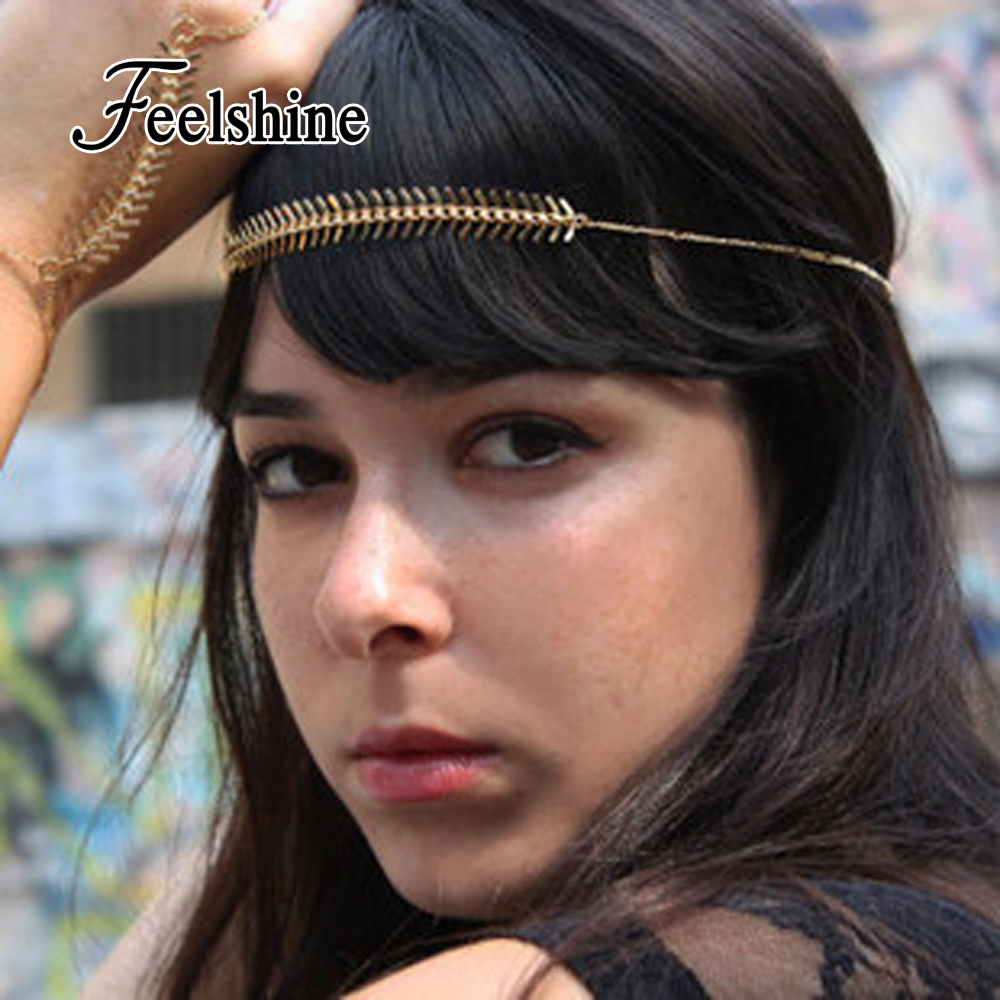New 2016 Ethnic Boho Style Hair Jewelry Black Elastic Rope Gold Color Chain Headbands Hairwear Women Accessories(China (Mainland))