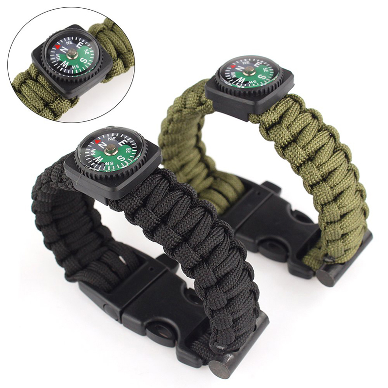 New Outdoor 9 Inches Paracord Survival Bracelet Rope WhistleKits With Compass Flint Fire Starter 2 Colors Free Shipping HW156<br><br>Aliexpress