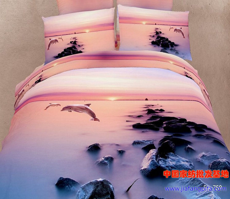 3D Dolphin ocean bedding set queen size duvet cover bedsheet quilt bed in a bag sheets bedclothes oil painting100% cotton sea(China (Mainland))