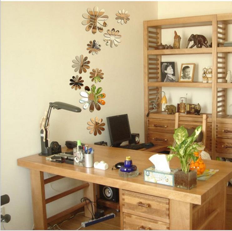 12pcs home decoration 3d flowers wall sticker mariposas - Decoraciones de papel ...