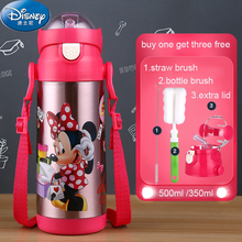 Disney Stainless Steel 500ml Thermal Cup With Straw Water Bottles for Kids Milk Cup Thermos Straw Glass Portable Kettle Thermos(China (Mainland))