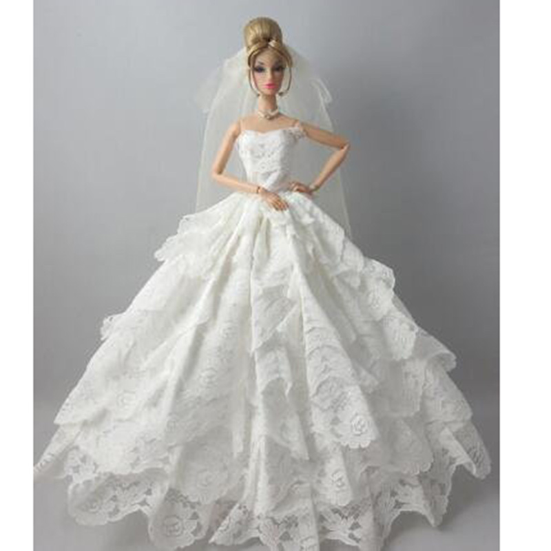 Stunning White Elegant Style Multi-layer Embroidery Lace Strapless Gown With Veil For Barbie Doll Accent for Barbie doll