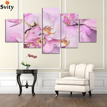 Buy Hand Painted Purple red Oil Painting Flowers Modern Abstract 5 Panel Canvas Art Wall Picture bedroom Home decor Unframed A23 for $22.17 in AliExpress store