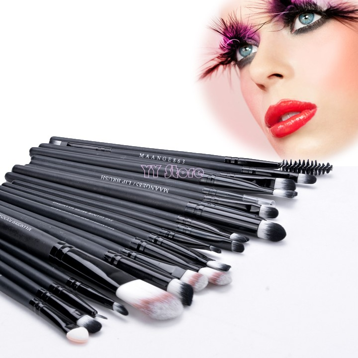 Promotion!Lowest Price!20pcs Black/ Coffee Cosmetic Facial Make up Brush Kit Makeup Brushes Tools Set SV19(China (Mainland))