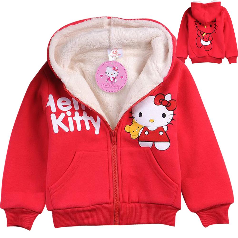 Hello kitty Children outerwear girls hoodies baby Hooded coat kids clothing thick fleece hoody autumn winter clothes sweatshirt(China (Mainland))