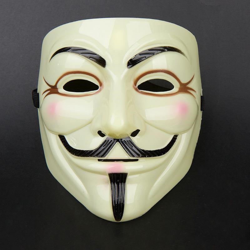 Hot sale!! High quality Vendetta Anonymous Guy Fawkes carnival V Mask(adult size) light yellow(China (Mainland))