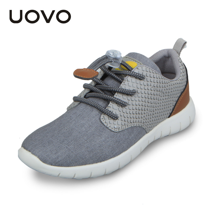 UOVO Child Fashion Sneakers Children's Running Shoes Soft Outsole Breathable Boys Lace-up Casual Footwear Cool Kids Sport Shoes
