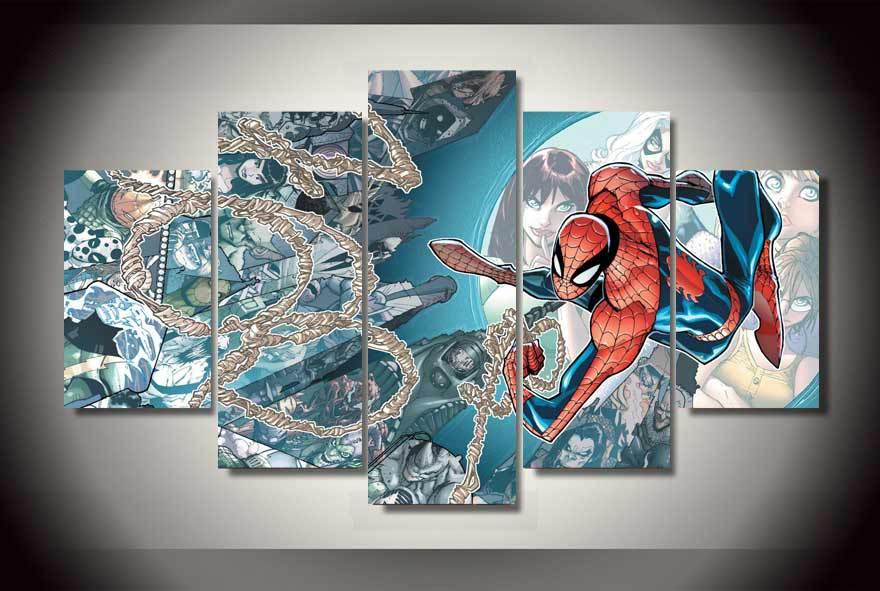 Envío Gratis spider man Comics Pintura sobre lienzo de Impresión Sin Marco decoración de impresión impresiones imagen lona Listo para colgar quadro decorativo(China (Mainland))