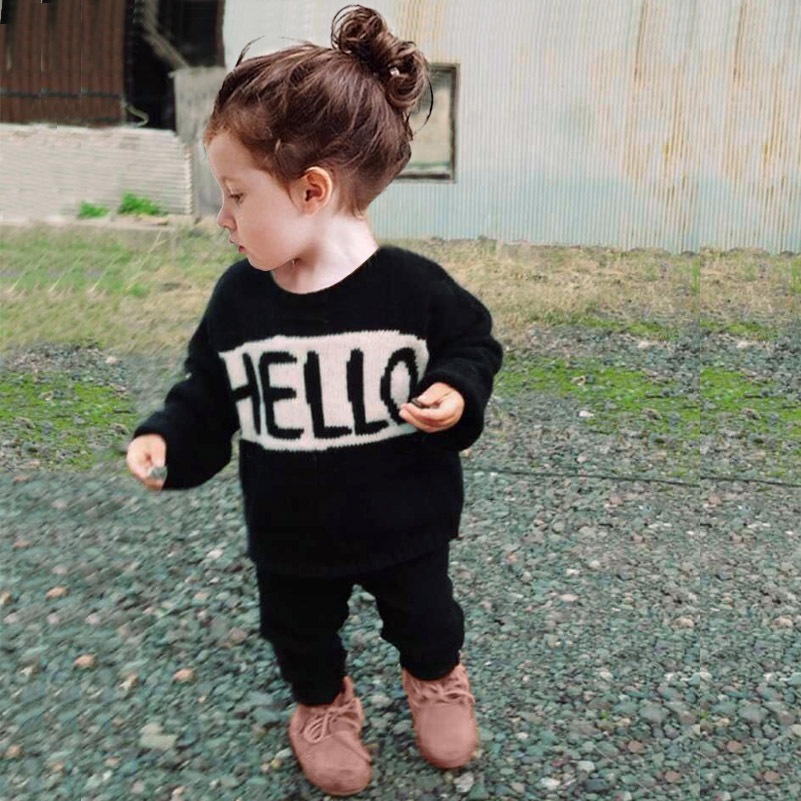 INS Baby Sweater Toddler Tops Boy's Girl's Long Sleeves Knitted Outwear Hello Bye Print Clothing 12M-5Y(China (Mainland))