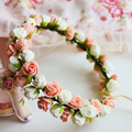 Fashion Rustic Hair Wreath Bridal Flower Crown Wedding Head Wreath Brown Floral Headband Boho Hair Accessory