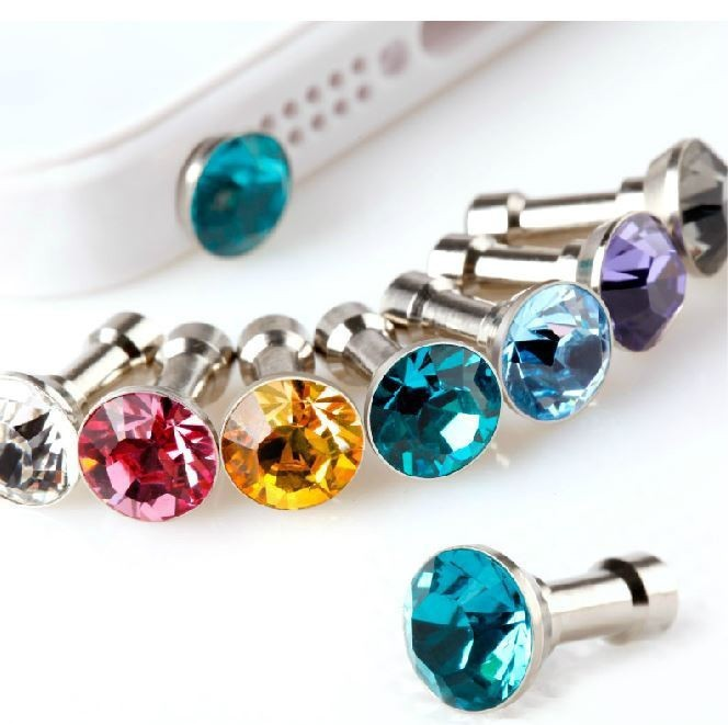 10pcs/lot Colorful Diamond Rhinestone Dust Plug Earphone Plug For iPhone 4 4s 5 5s 6 6s/Samsung/iPad Mobile Phone Accessories(China (Mainland))