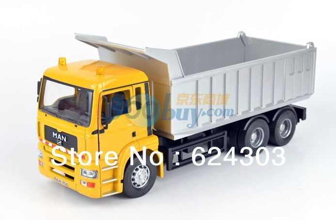 2013 newest ! 1:32 MAN Yellow Dump truck Diecast Model the best kids toys(China (Mainland))