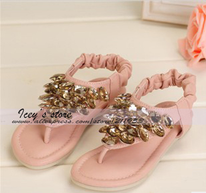 Retail Free Shipping 1 Pairs Girls Sandals Kids Summer Falts Fashion Shoes Girls Flops Shoes Baby Rhinestone Flops AL130618026<br><br>Aliexpress