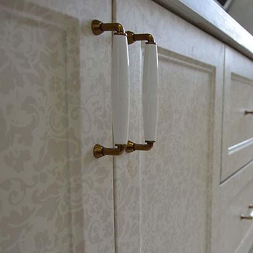 128mm kitchen cabinet handle white ceramic cupboard pull bronze drawer