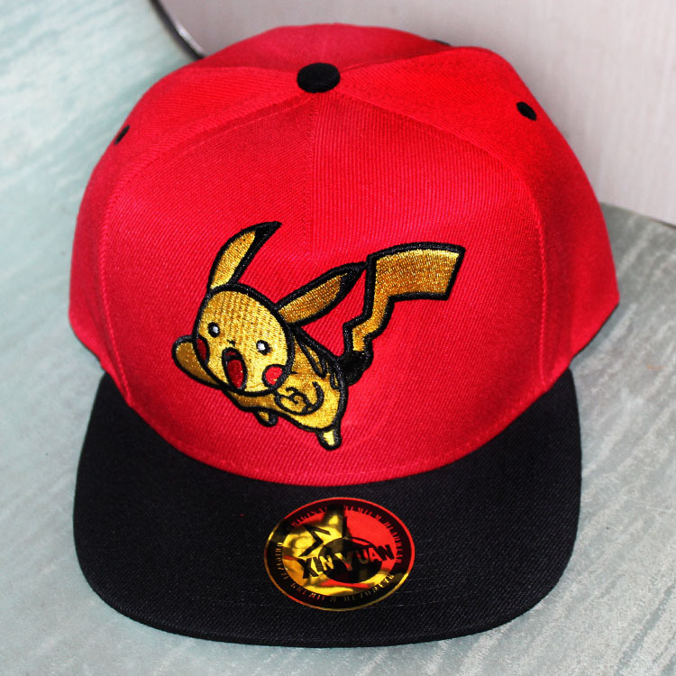 2016 New Anime Pokemon Pikachu Snapback Caps Red Black Yellow 3 Color Adult Baseball Cap Cool Boy Hip-hop Hats for Men Women(China (Mainland))