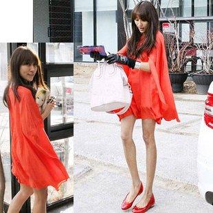 2012 Summer New Korea Style Casual Dress Chiffon Orange Flowing Super Queen Cape Dresses Blouses
