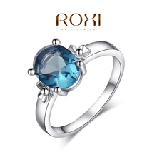 Roxi Fashion Women's Jewelry High Quality Ring White Platinum Gold Plated Round Cut Faceted Swiss CZ Blue Stone Hand Made