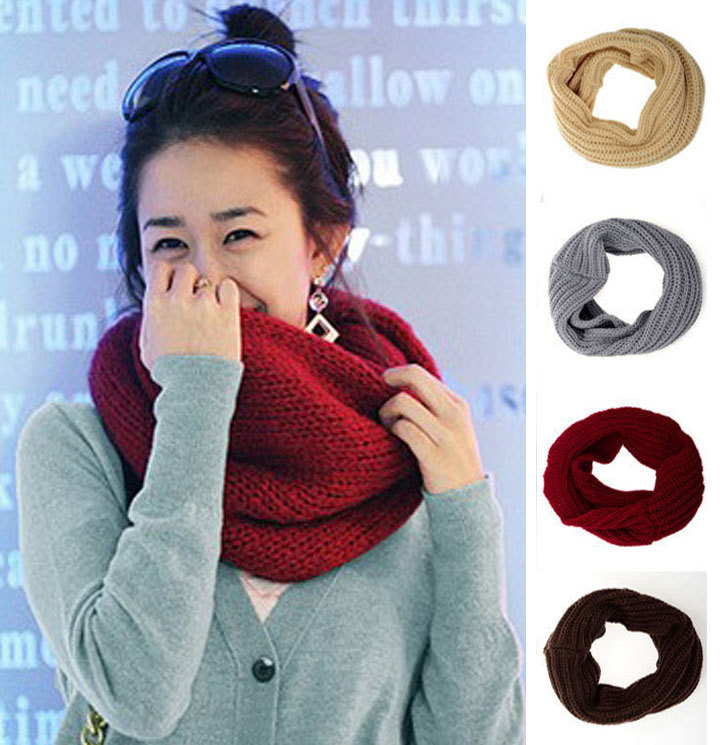 Mens Womens Warm Winter Knit Crochet Infinity Scarf Shawl Infinity One Circle Cable Knit Cowl Neck Long Scarf Shawl(China (Mainland))