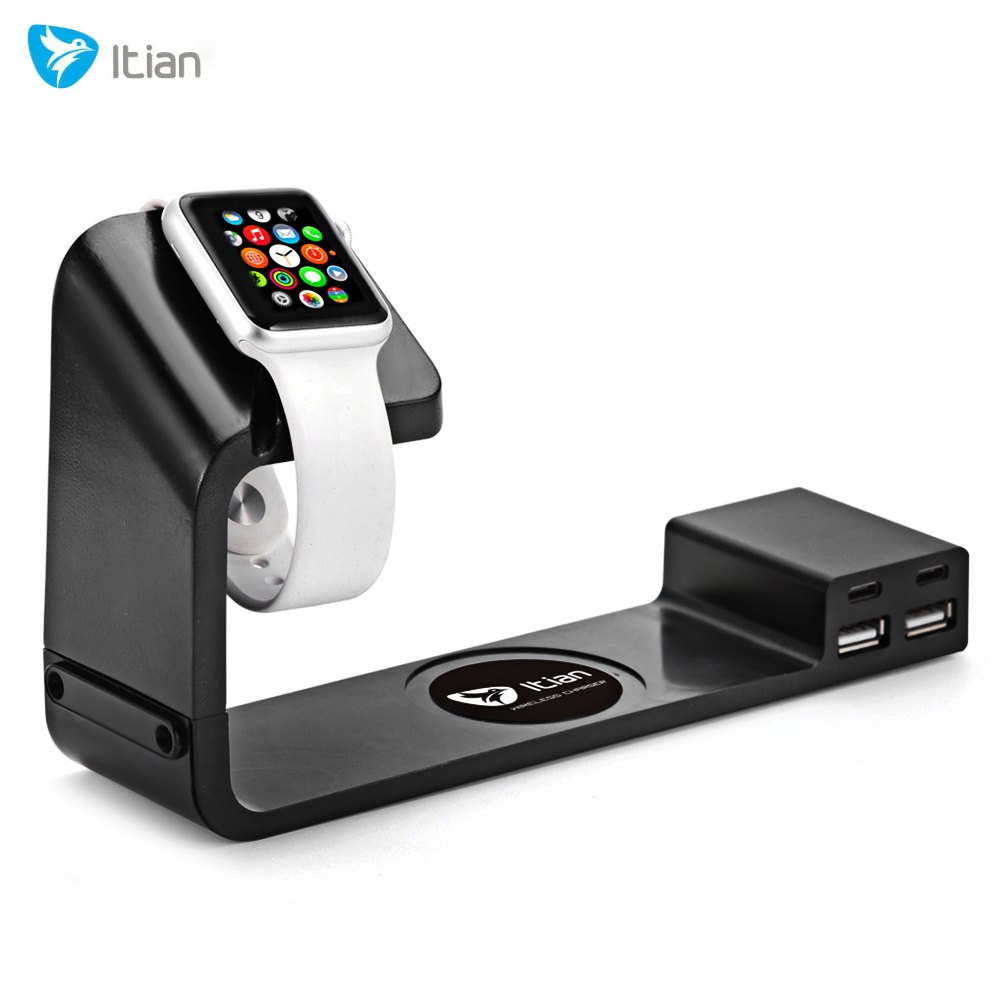 Itian A12 Charger for Apple Watch Mobile Phone Power Adapter with 2 USB Port 2 Type-C Output Adapter and Wireless Charger stand(China (Mainland))
