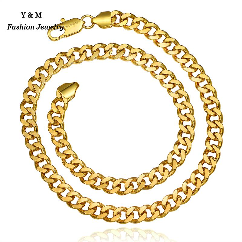 fashion chunky 24k gold plated chain necklace for men women colares e correntes masculino feminino ouro joias(China (Mainland))