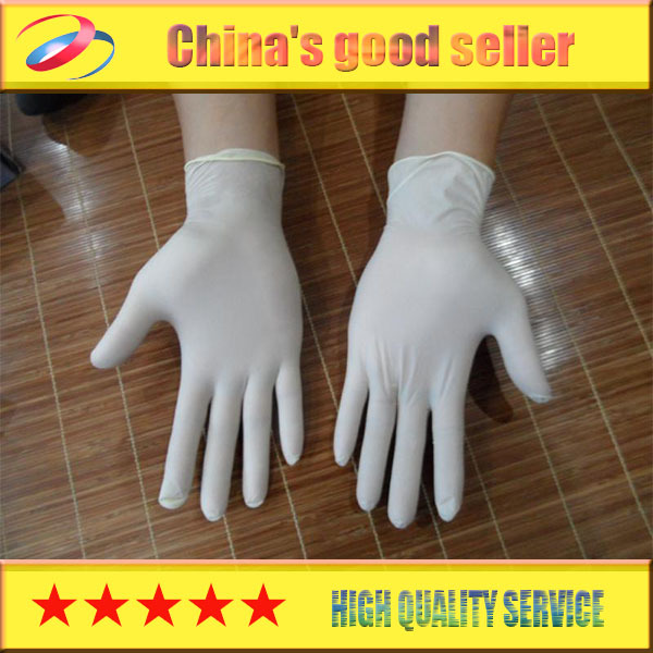 Free shipping high quality gloves rubber examination gloves disposable latex gloves powder 100pcs(China (Mainland))