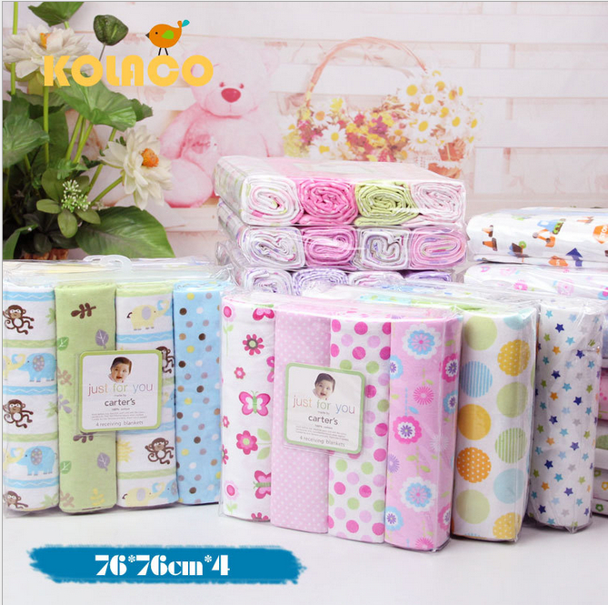 Free shipping 4Pcs/Pack 100% cotton supersoft flannel receiving baby blanket 76*76CM(China (Mainland))