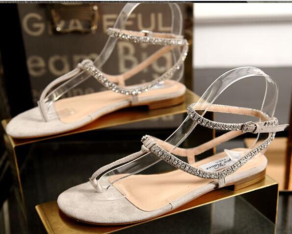 Grey Summer Sandals Sheepskin Leather Flat Sandals Rhinestone Ankle Strap Rome Style Fashion Wedding Sandals Size 4-Size 9 S-014(China (Mainland))