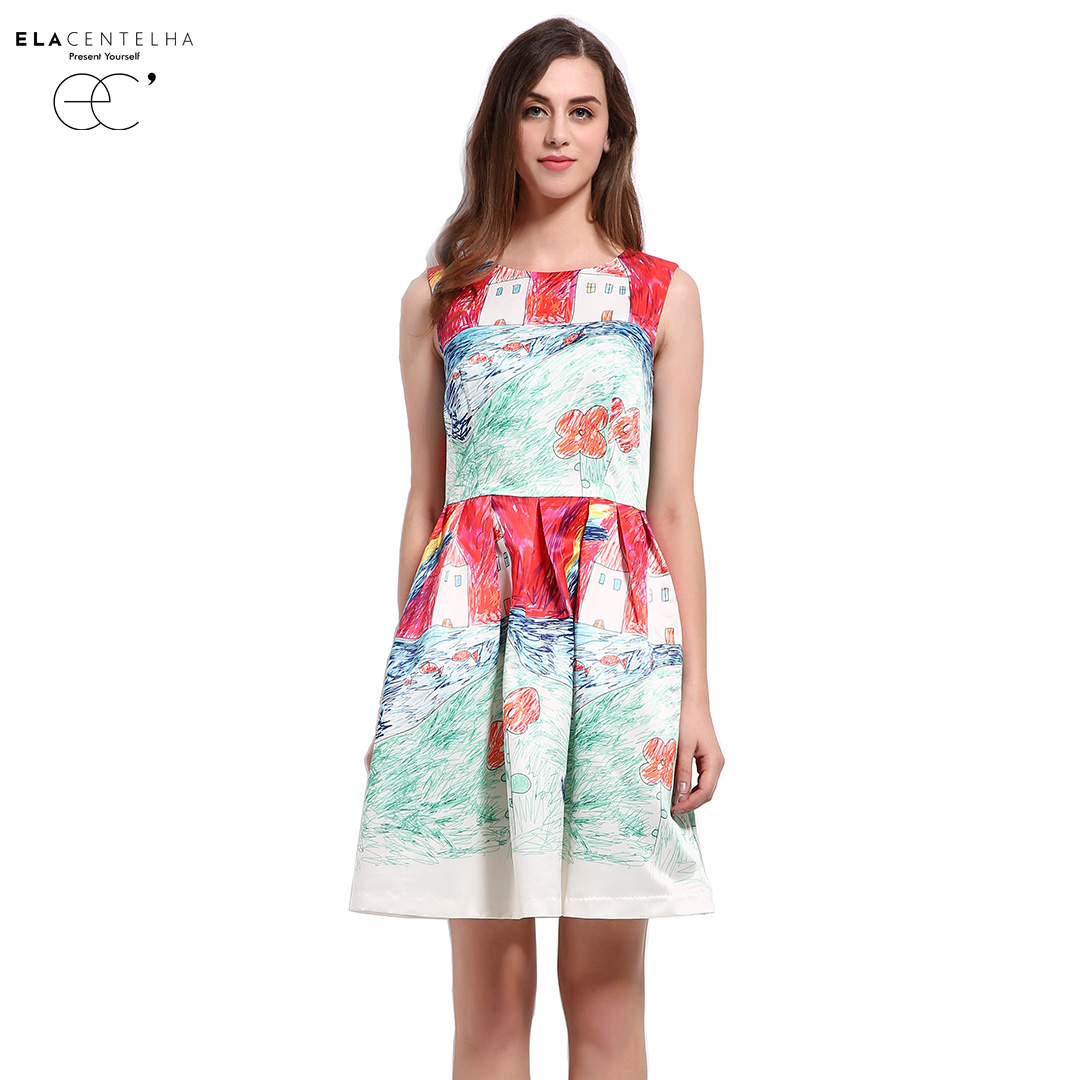 Гаджет  ElaCentelha Boutique Baroque Novelty New Fashion Imitation Painting Innocent Printing Dress Summer Women Sundress Day Dresses None Одежда и аксессуары