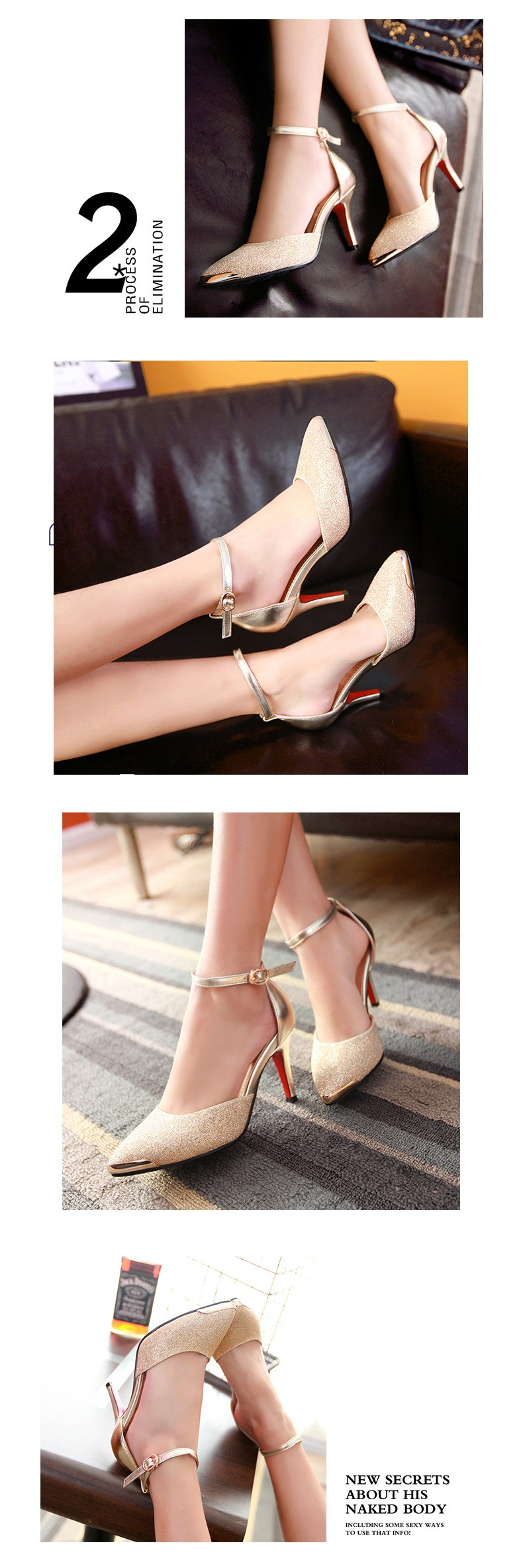 New Arrival Fashion Sexy Women Pumps Ankle Strap Thin High-heeled Shoes Pointed Toe Sexy High Heels Female Shoes ZX1.5