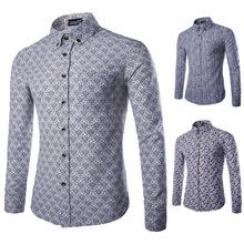 New Spring 2015 Men's Long Sleeve Shirt Fashion Flower Shirt Men Cotton Casual Shirt Men Plus Size M-XXL Shirt Men(China (Mainland))