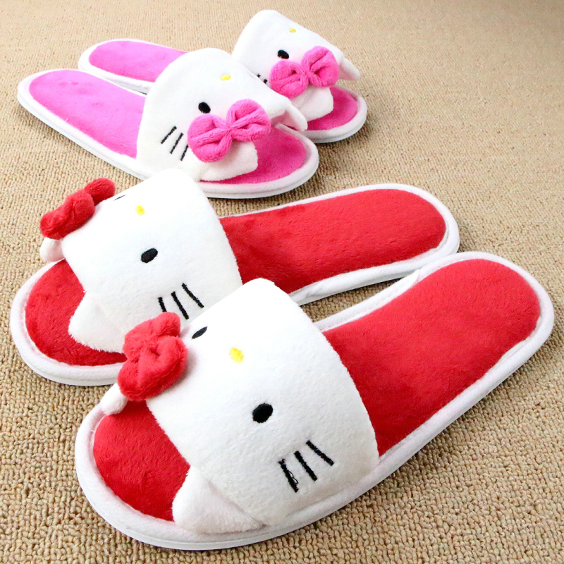 Soft Plush Bow Hello Kitty Pink Slippers Women Men Shoes Indoor Girl Loafers Cartoon Pantuflas Pantofole Donna Chinelo Masculino(China (Mainland))