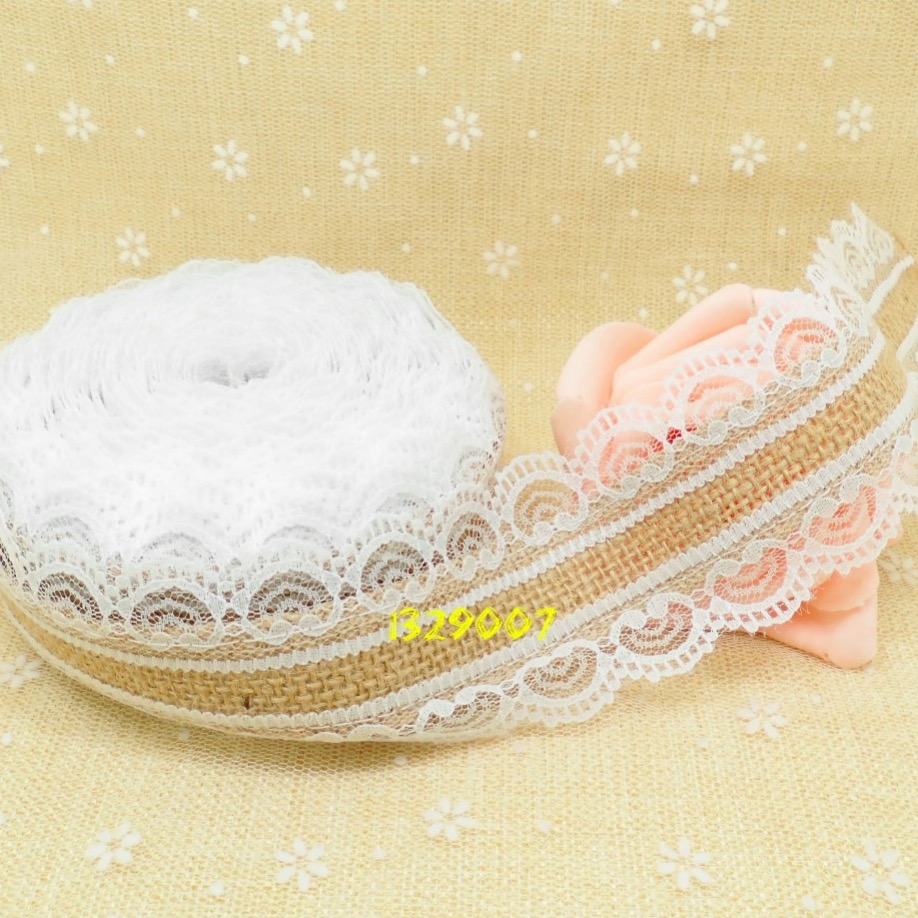 10M Natural Jute Burlap Hessian Lace Ribbon Roll white lace trim Edge rustic wedding centerpieces vintage