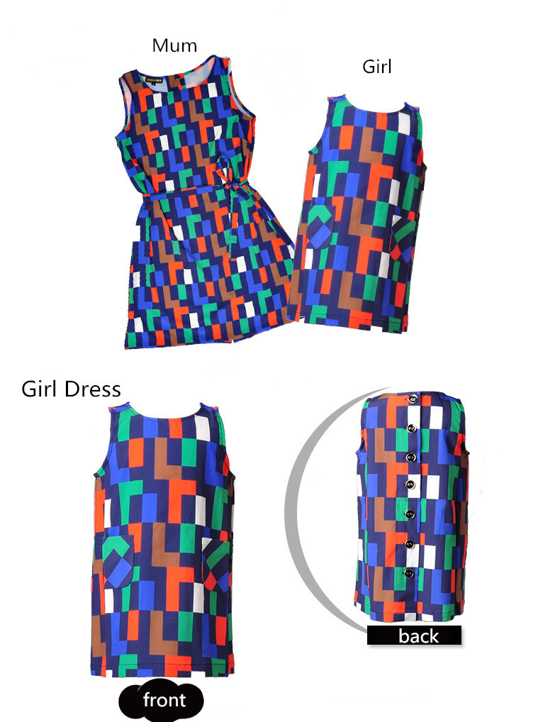 2015 mother daughter dresses  summer style family matching clothes Mum and girl outfits sleeveless loose colorful plaid dresses
